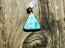 Zilveren hanger driehoek turquoise