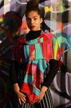 Extra grote viscose sjaal, rood en turquoise - Liz