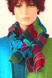 multicolor sjaal van gebreide stofjes - Liz