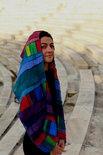 Regenboog sjaal, patchwork baantjes zijde - Liz