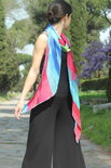 Langere viscose regenboog sjaal, diagonale stroken - Liz