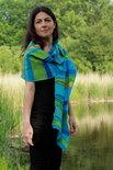 Blauw groene viscose patchwork sjaal - Liz