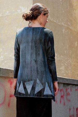 Grijze viscose tricot tuniek - Liz